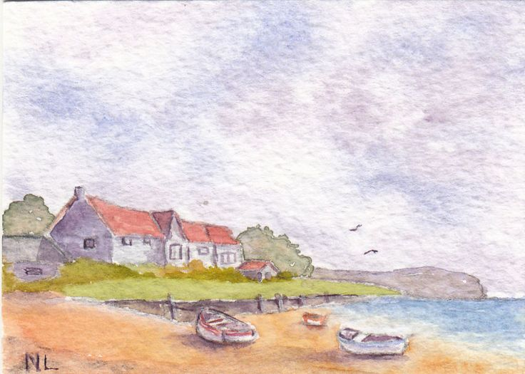 ACEO Miniature Card Original Watercolour - Holiday Cottages - Essex England