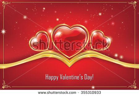Happy Valentine's Day! Red greeting card with hearts background. Print colors used; Space for your own message.