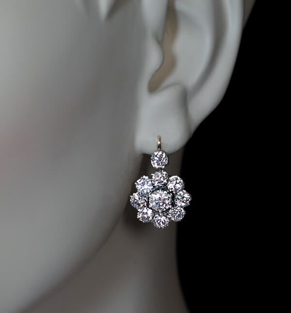 made in St Petersburg between 1908 and 1917 The silver topped 14K gold earrings are set with over 6 carats of sparkling bright white (mostly F color) old E