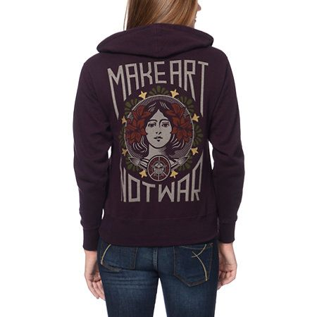 Obey Make Art Not War Color Blackberry Zip Up Hoodie - I must have this!