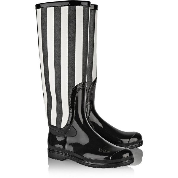 Dolce & Gabbana Striped faux patent-leather rain boots (340 BGN) ❤ liked on Polyvore featuring shoes, boots, black white boots, black slip on boots, slip on boots, wellington boots and black wellington boots