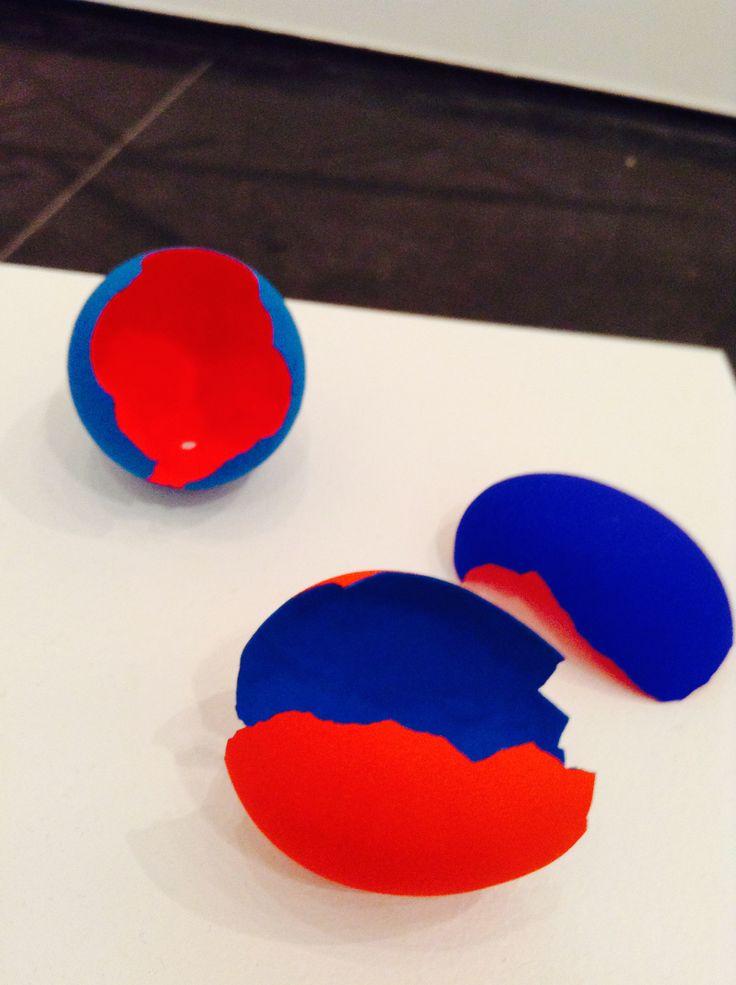 Red Blue Egg by Charles Dennington (2013) eggshell, gouache