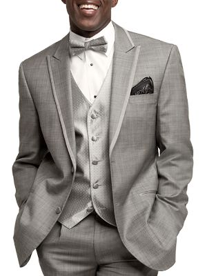 groomsmen with black tie and pocket square. Groom with black tux and tie/square in this grey colour.