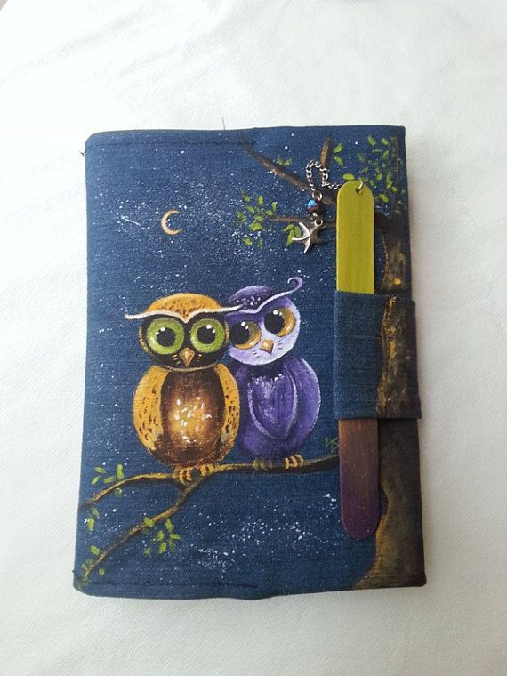 Book cover hand painted owls book cover design handmade by AxiKedi