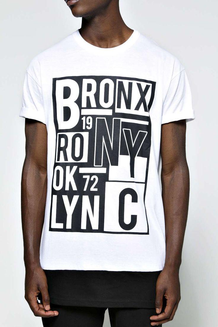 Crew Neck NYC Printed Longline T Shirt alternative image