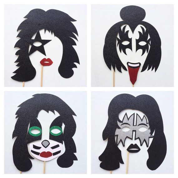KISS Band Inspired Photo Booth Props - Rock and Roll Birthday Party - Photobooth Props - Rock Band Birthday Party Decorations