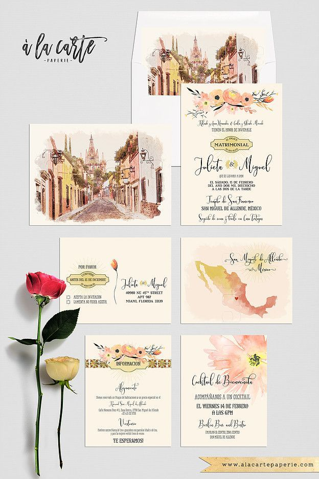 Mexico San Miguel de Allende Destination Wedding Traditional Mexican illustrated floral terracotta orange yellow wedding invitation set