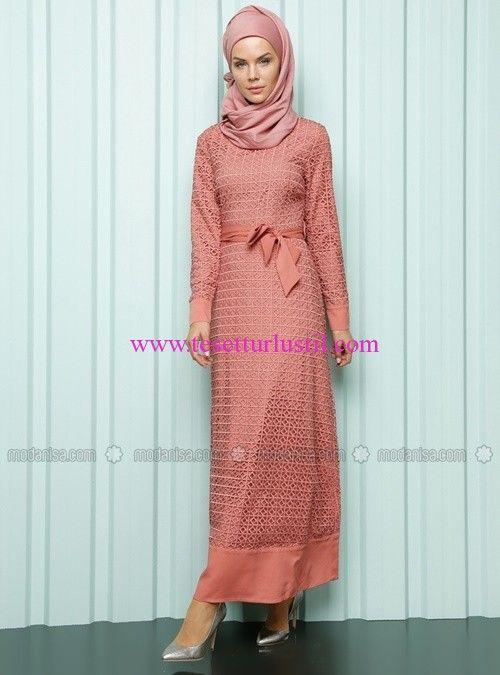 Luvice gül kurusu kuşaklı elbise