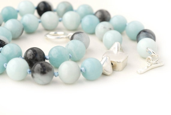Necklace  Blue Amazonite and Sterling Silver by SunSanJewelry,