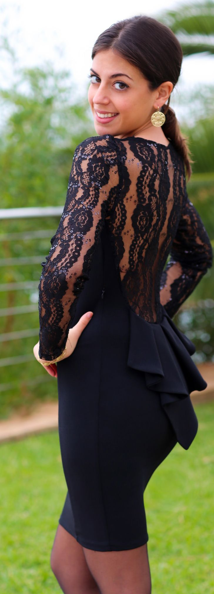 Black Lace Accent Back Bowed Cocktail Mini Dress