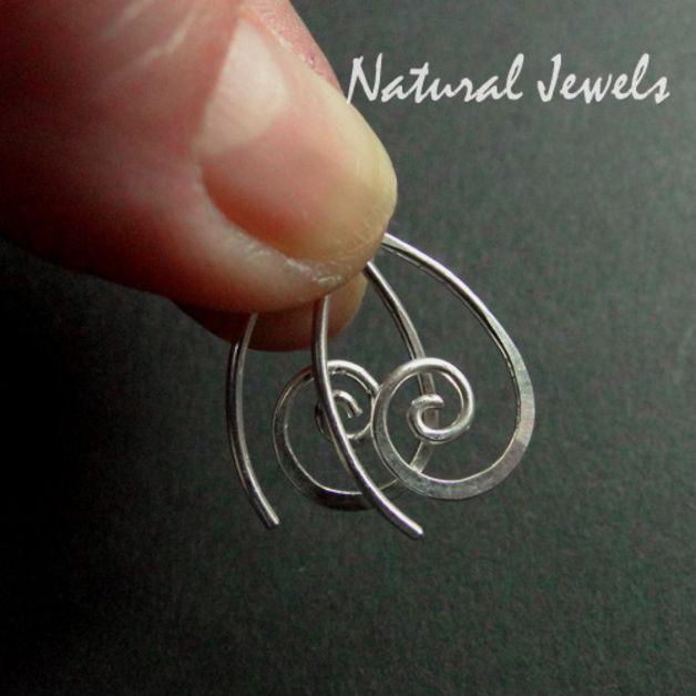 Silber Ohrringe - 18 mm Silberne Ohrringe TINY SILVER SPIRALS - ein Designerstück von Natural-Jewels bei DaWanda
