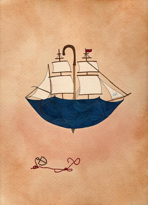 Nautical Print - A4 Print - Sailor Boat Illustration - Illustration Print - Art Print - Sailor Print. $25.00, via Etsy.