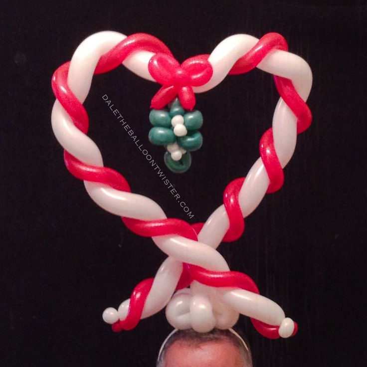 Candy cane mistletoe heart hairband balloon twisting for Candy cane balloon sculpture