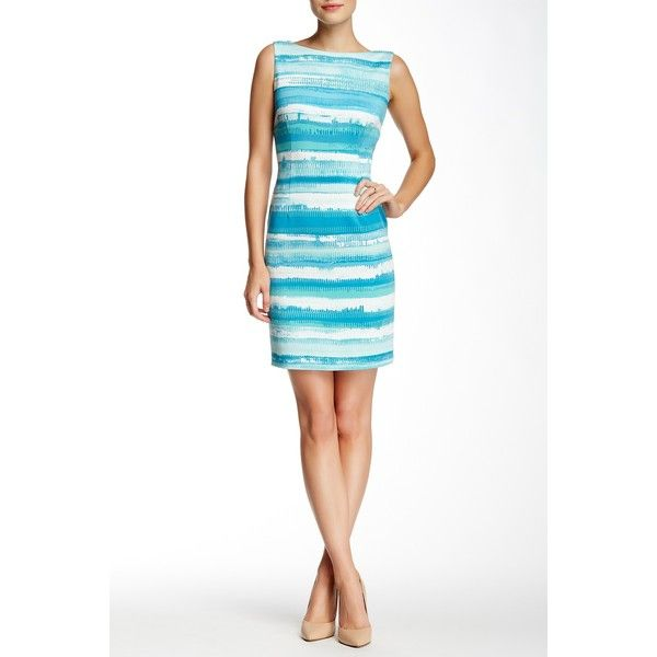 Tahari Lagoon Striped Scuba Dress (Petite) ($50) ❤ liked on Polyvore featuring dresses, petite, striped dress, white dress, elie tahari dresses, white boat neck dress and sleeveless midi dress