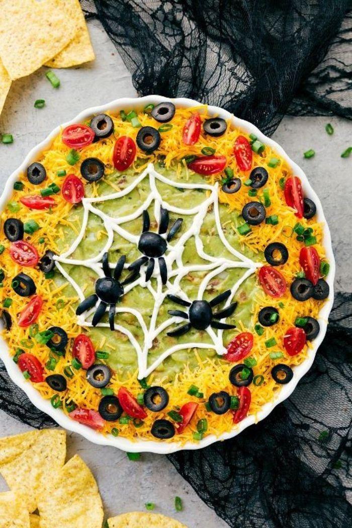 trempette nachos à la mexicaine façon toile d'araignée   Plat halloween recette, Repas halloween ...