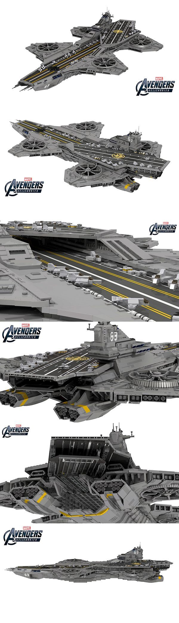 The helicarrier from The Avengers is made to be built from LEGO bricks, and LEGO Ideas (formerly Cuusoo) user ysomt came up with a design that uses 22,694 of them. Isn't it a thing of beauty? He reviewed stills from the film and did his best to make the helicarrier screen accurate and get the proportions just right. It measures 85.4 by 45.3 inches so you'd need to clear a big space to build and display it.:
