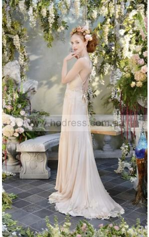 Lace-up A-line Natural V-neck Wedding Dresses gvcf1001--Hodress
