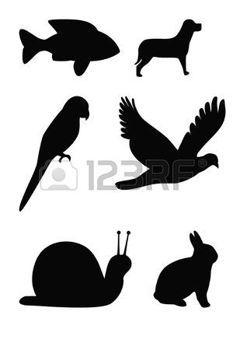 loro: Conjunto de siluetas de animales, peces, aves volando, loro, tortuga, perro y conejo. Foto de archivo