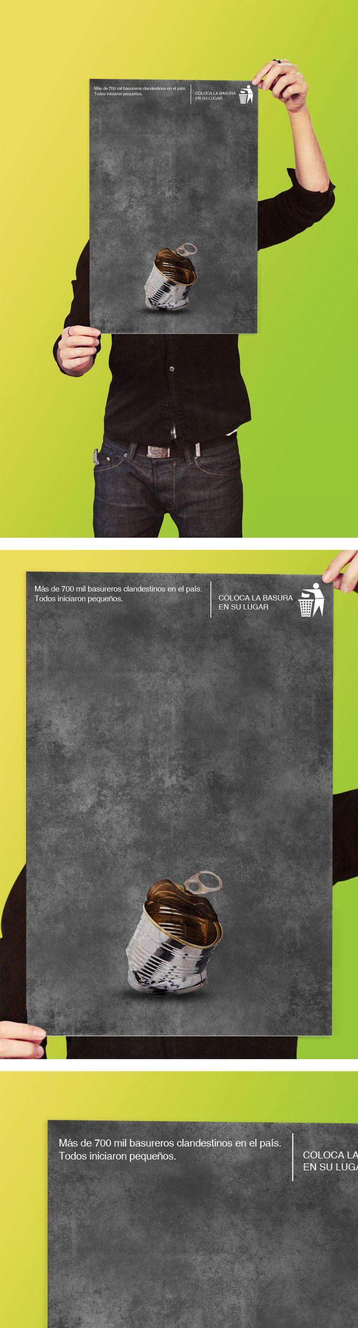 Afiche de reciclaje creado para hacer conciencia sobre los problemas de basura y contaminación en el país. A través de un diseño minimalista se evoca cómo algo tan pequeño puede convertirse en un problema para todos.