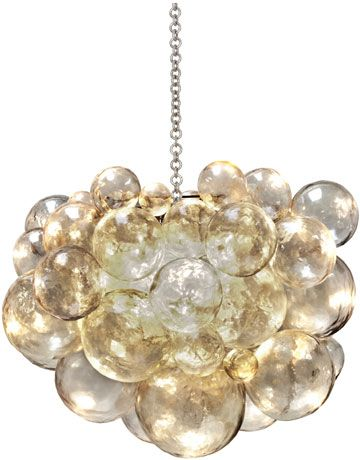 Muriel chandelier by Oly. Cast resin w/antiquated silver chain and support.