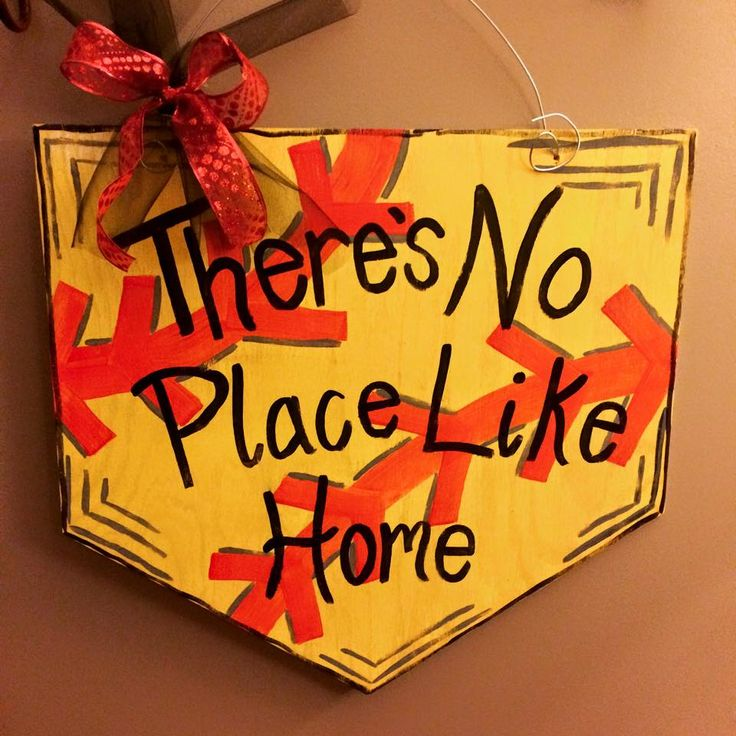There 39 s no place like home softball home plate wooden - Wooden door signs for home ...