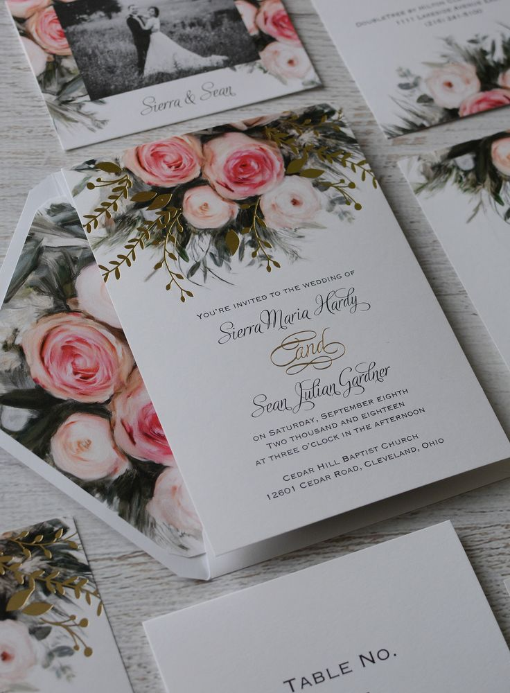 Pink floral wedding invitation with gold foil
