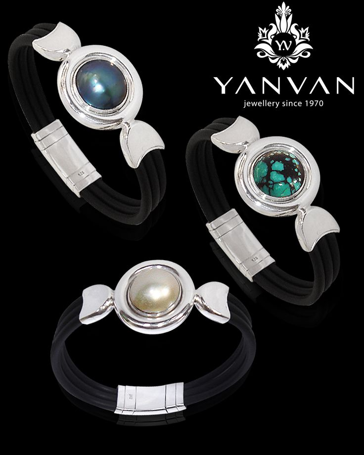 Avignon serie...  925 sterling silver, black genuine rubber, grey mabe, white mabe and torquize...  kayan@indo.net.id