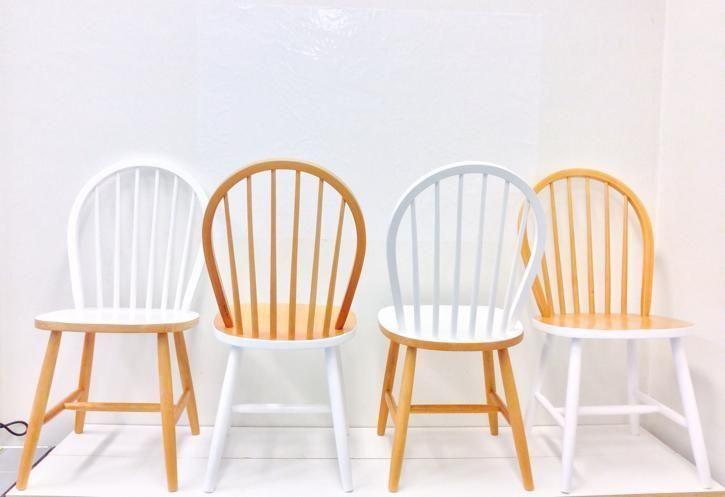 4 stoelen Scandinavische stijl beuken wit spijlenstoel retro