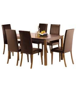 Hampton 150cm Walnut Table and 6 Chocolate Midback Chairs 127 best Dining room images on Pinterest   Dining room  Dining  . Adaline Walnut Extendable Dining Table And 6 Chairs. Home Design Ideas