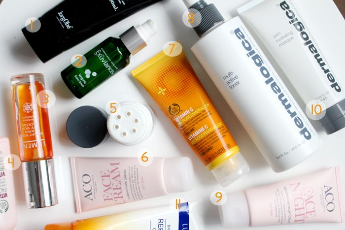 11 hudvårdsfavoriter hiilen sminkblogg skönhetsblogg tips hud kräm fukt torr hy olja lumene the bodyshop