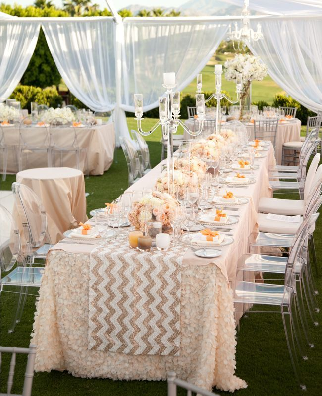Sequin Chevron table, blush, gold and white. Rent this look www.swankysoireeevents.com