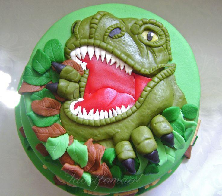 Torta de dinosaurio con rostro del T-Rex! #torta #pastel #dinosaurio