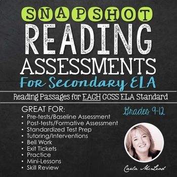 Measure the progress and improve the learning of your secondary ELA students with this reading assessment package that assesses them by each individual Common Core standard.