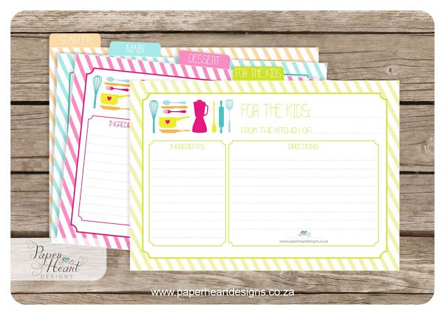 FREE Paper Heart Designs: Friday Freebee - Printable Recipe Cards
