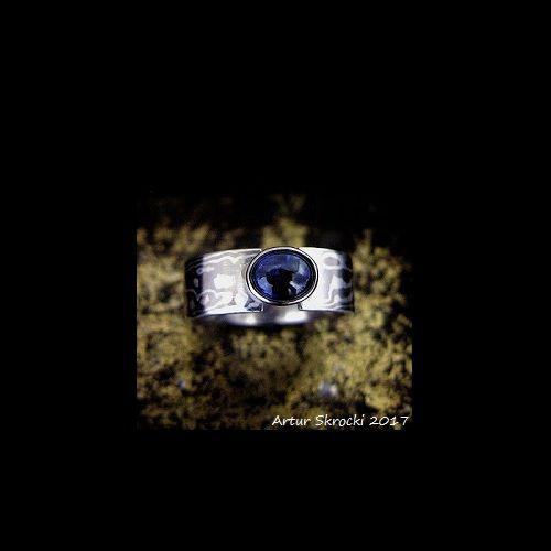 Sapphire palladium silver Mokume