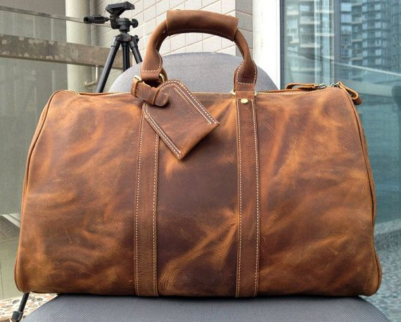 Large Travel Bag / Genuine Leather Briefcase / by CrazyLeatherBag, $159.00