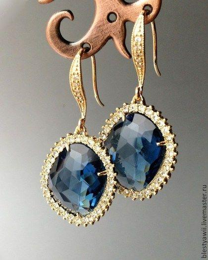 Позолоченные серьги Сапфиры с фианитами 14k Gold Plated - синий,серьги мятного цвета