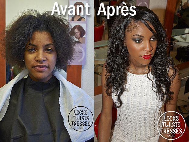 Avant apr s coiffure d frisage cheveux afro suivi d 39 une pose de m ches br siliennes ondul es - Rihanna avant apres ...