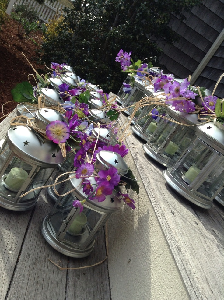 Ikea lanterns, purple flowers, twine- this is one of the centerpieces that will be used at the #marshalldaviswedding