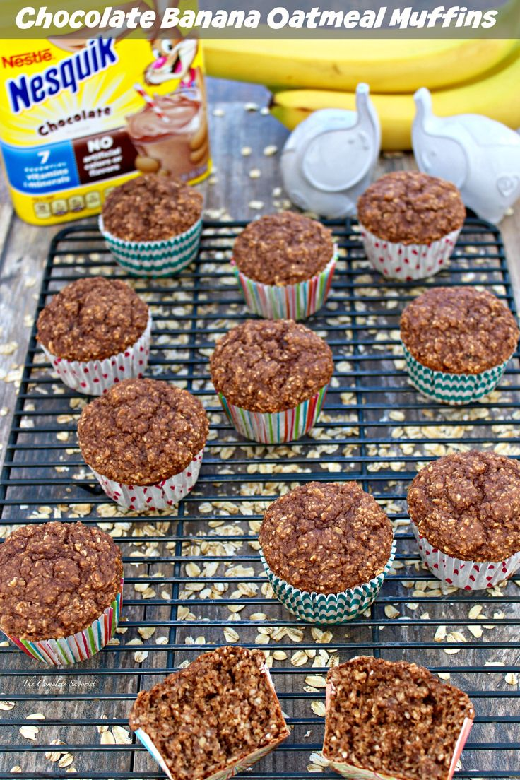 I shall use my sugar free Nesquick!! Chocolate Banana Oatmeal Muffins ~ The classic chocolate and banana combination jazzed up with oatmeal and baked into the perfect breakfast muffin ~ The Complete Savorist #StirImagination ad