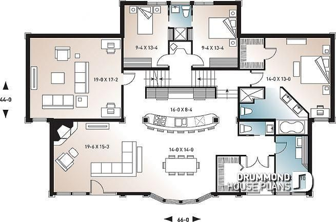 Discover The Plan 6400 Odessa Which Will Please You For Its 3 4 Bedrooms And For Its Cottage Chalet Cabin Styles House Plans One Level House Plans Open Floor House Plans