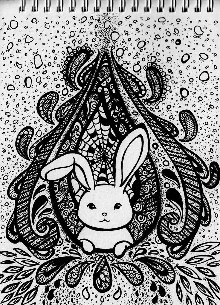 Water Rabbit. A traditional work. Pen on paper.