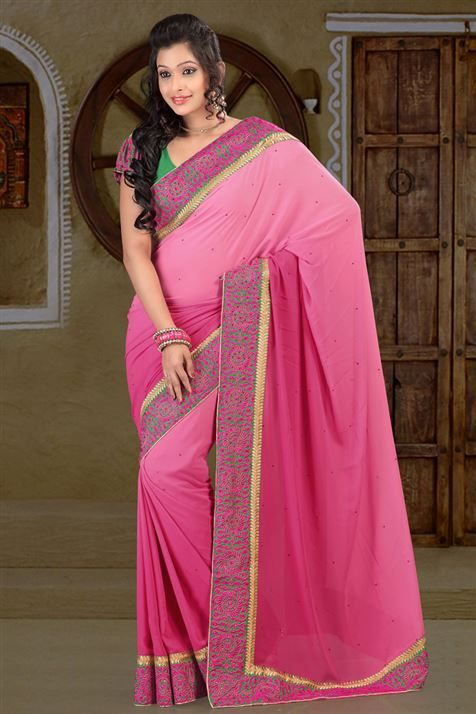 Weightless Pink party wear saree