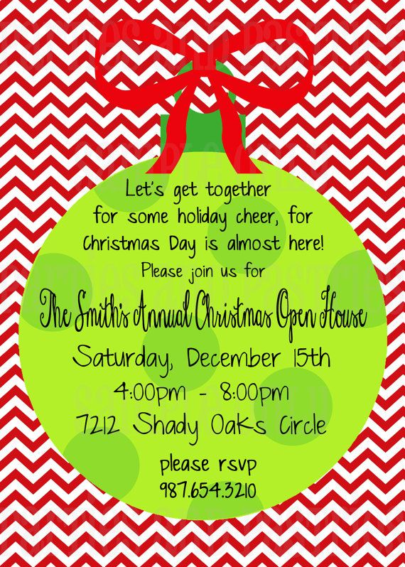 Open House or Christmas Party Invitation by PartiesandPastries, $10.00