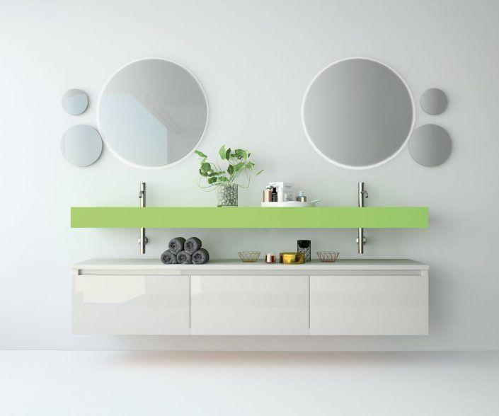 Muebles de baño a medida. Ejemplo de acabados en madera natural, laminados, lacas brillo o mate, etc.  unibaño-compactos-acabados-15
