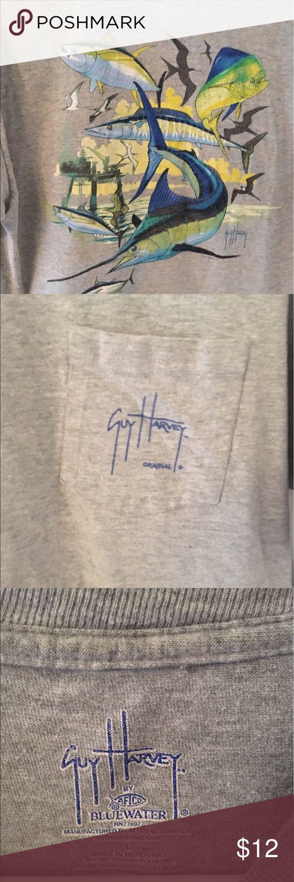 GUY HARVEY TSHIRT SIZE LARGE EUC GUY HARVEY GREY TSHIRT SIZE LARGE.  Front pocket Back design Guy Harvey Shirts Tees - Short Sleeve