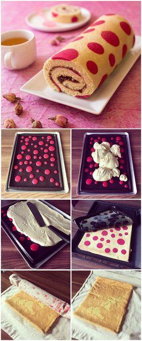Gâteau roulé imprimé très girly à la confiture de fraise