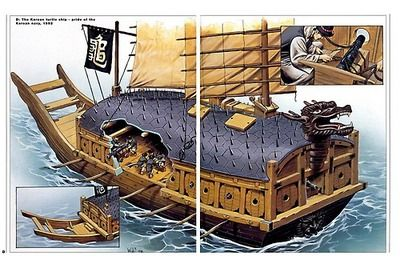 Image 2: The Turtle Ships of Medieval Korea. While the Japanese had firearms, Korean technology had developed far past Japan's due to their contact with China. The key to the turtle ship's power were its heavy cannon, about a dozen mounted on each side. The Japanese, who never mounted guns on a boat or ship, preferred to get in close and board the ship, fighting in hand to hand combat.