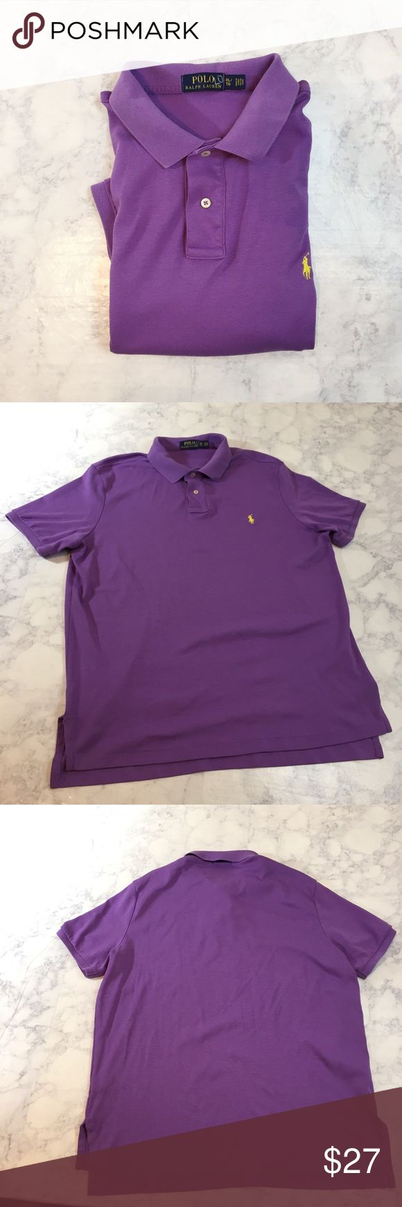 "Polo Ralph Lauren Purple short sleeve polo shirt Polo Ralph Lauren Purple Polo Shirt  Gently used, in good Condition. Has a minor hole on side bottom hem. Hardly noticeable, please review photos carefully.  Size XL  Length 29""  Width 23"" underarm to underarm  Laid flat, not stretched or doubled Polo by Ralph Lauren Shirts Polos"