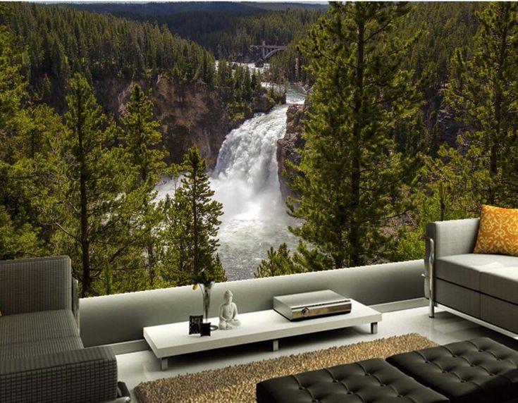 Custom 3d stereoscopic wallpaper,Forests Rivers Waterfalls Fir Nature wallpapers, living room sofa TV wall bedroom wallpaper